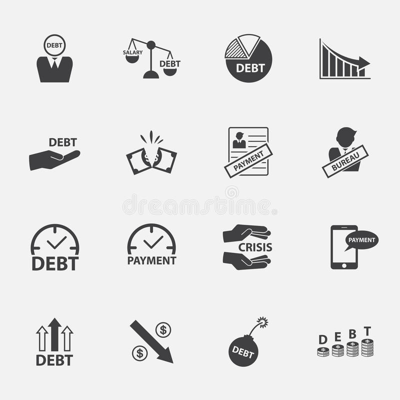 Кризис денег и комплект значка задолженности иллюстрация вектора