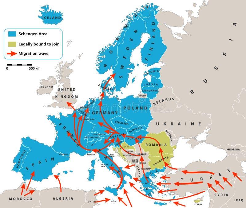Кризис миграции в Европе бесплатная иллюстрация
