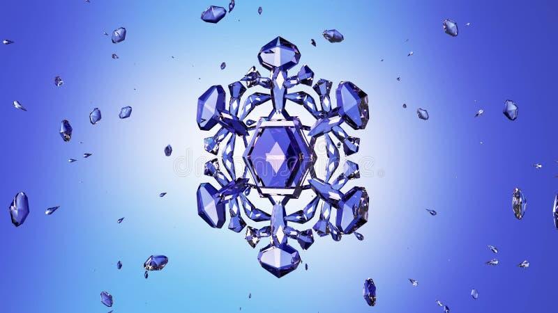 Кристаллическая снежинка против голубой предпосылки иллюстрация вектора