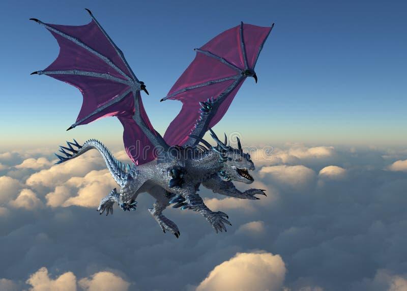 Кристаллический дракон витает над облаками иллюстрация штока