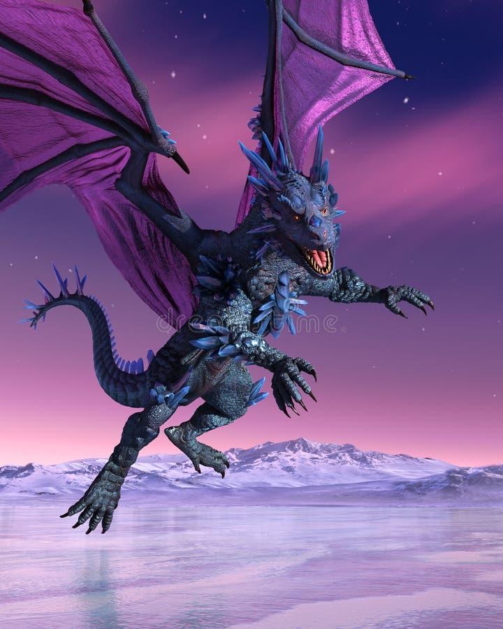 Кристаллический дракон спускает в ледистый ландшафт бесплатная иллюстрация