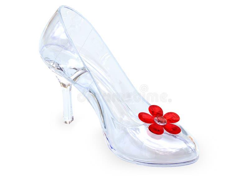 кристаллический женский стеклянный ботинок стоковые изображения rf