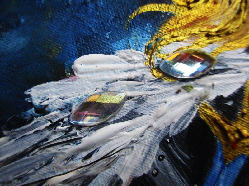 Кристаллы, камни на фрагменте живописи стоковые изображения rf