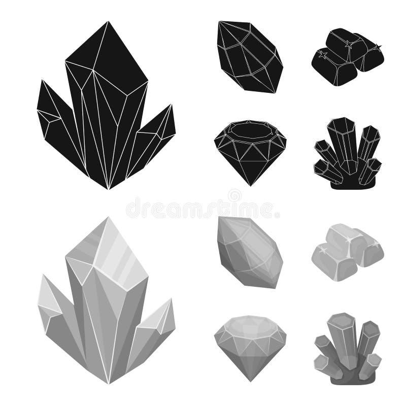 Кристаллы, минералы, золото в слитках Драгоценные минералы и значки собрания ювелира установленные в черноте, символе вектора сти иллюстрация штока