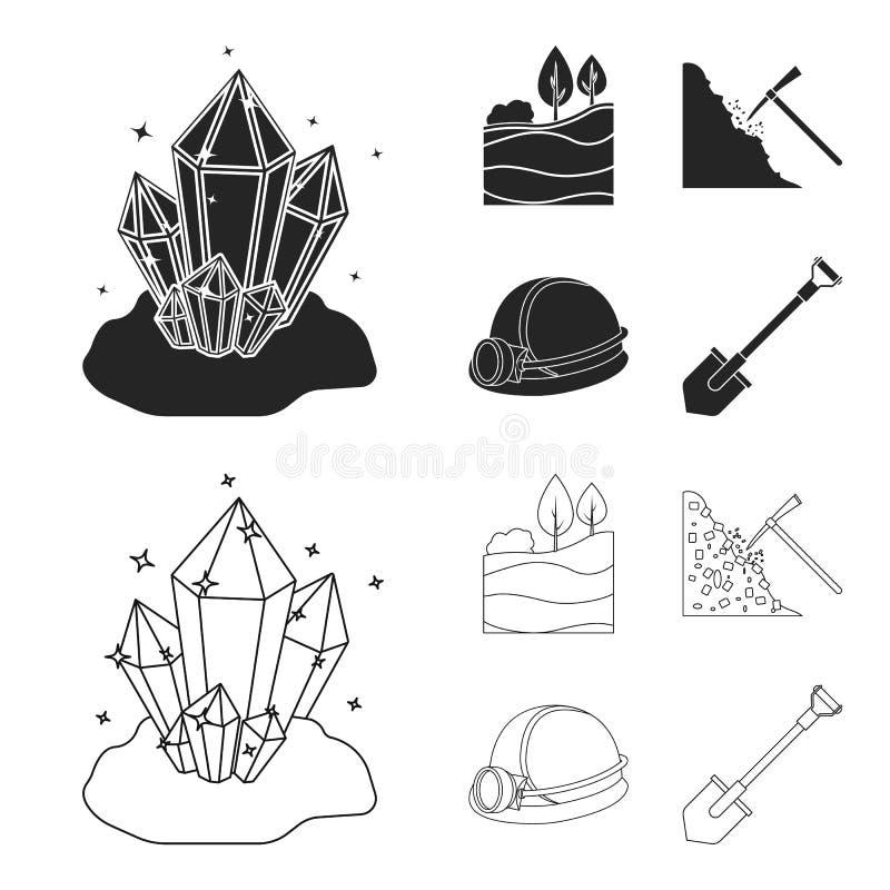 Кристаллы, угольный пласт, обушок, шлем с фонариком Значки в черноте, запас собрания шахты установленные символа вектора стиля пл иллюстрация вектора