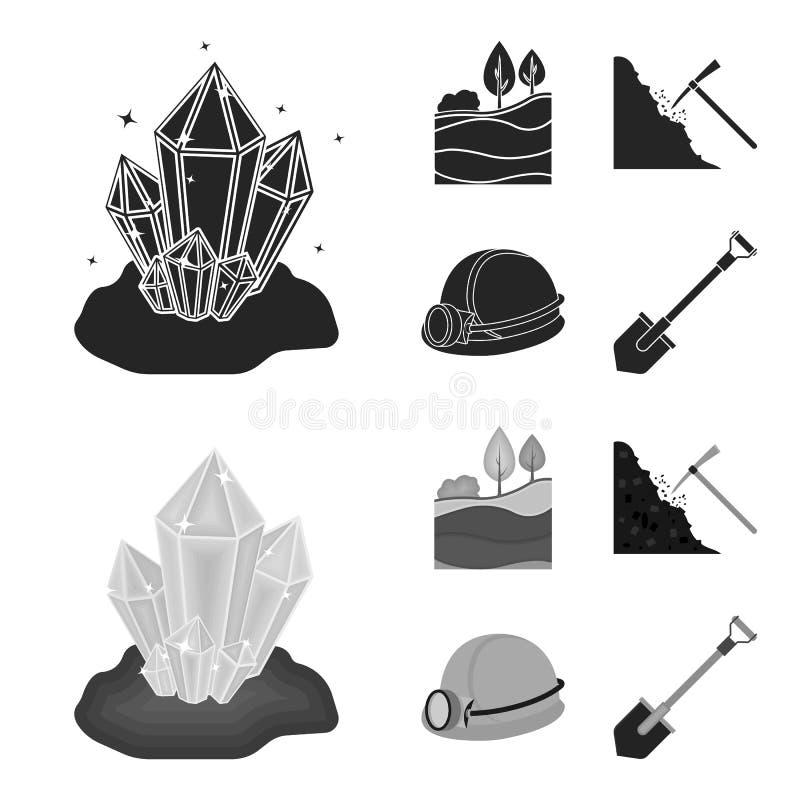 Кристаллы, угольный пласт, обушок, шлем с фонариком Значки собрания шахты установленные в черноте, символе вектора стиля monochro иллюстрация штока