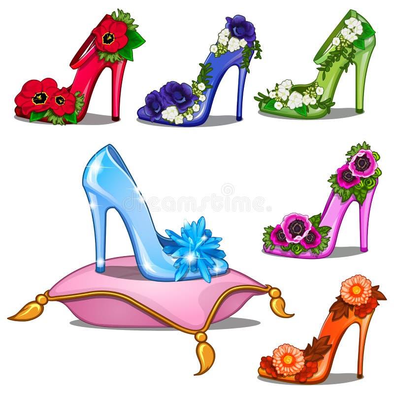 Кристаллические ботинки в других цветах с цветками бесплатная иллюстрация