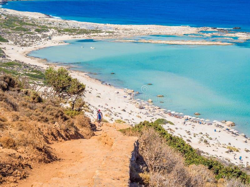 Крит, Греция: Взгляд лагуны Balos paradisiacal пляжа и моря стоковые фото