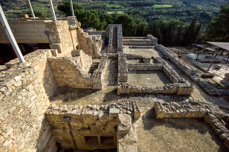 Крит, Греция - январь 2016 Деталь старых руин известного дворца Minoan Knosos стоковые фото