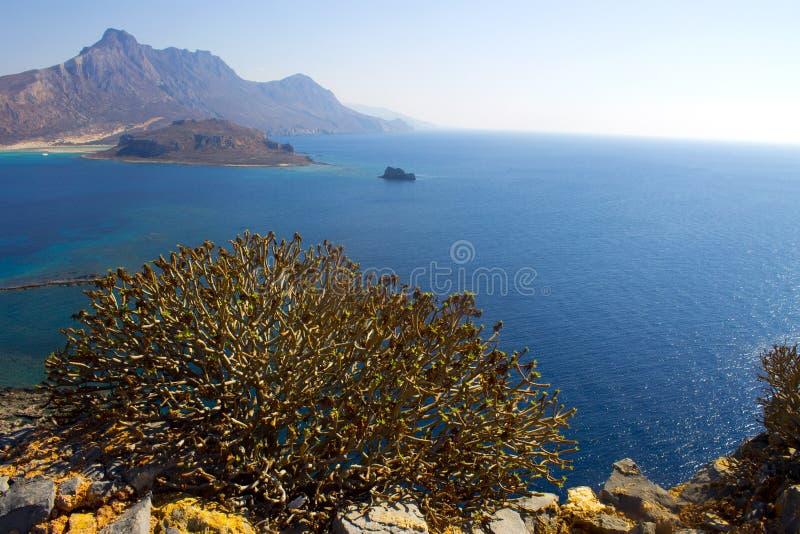Крит Море Крепость на острове Gramvous стоковое изображение rf