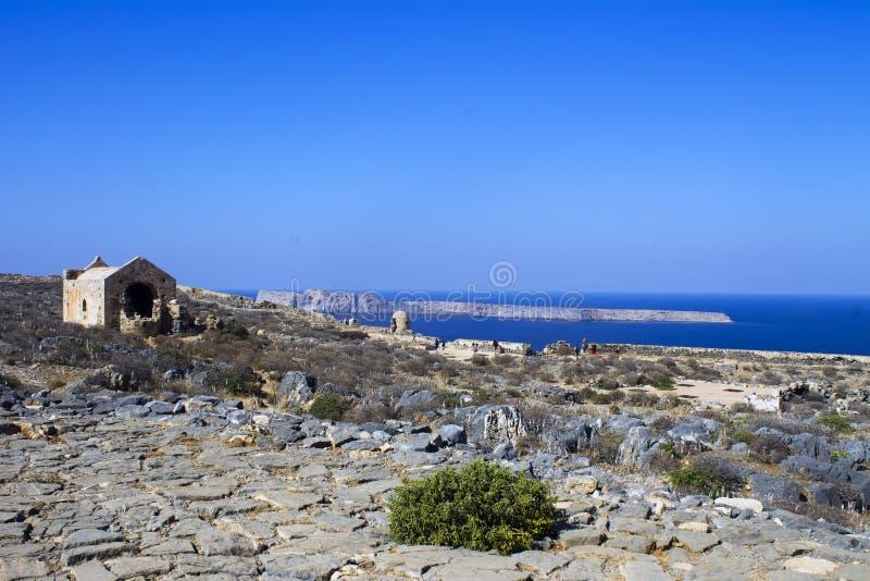 Крит Море Крепость на острове Gramvous стоковая фотография