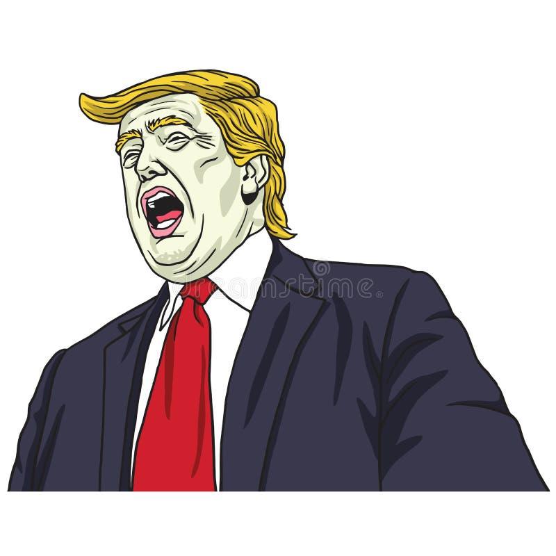 Кричать Дональд Трамп Иллюстрация карикатуры шаржа портрета вектора 30-ое октября 2017 иллюстрация штока
