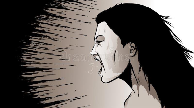 Кричать женщина иллюстрация вектора