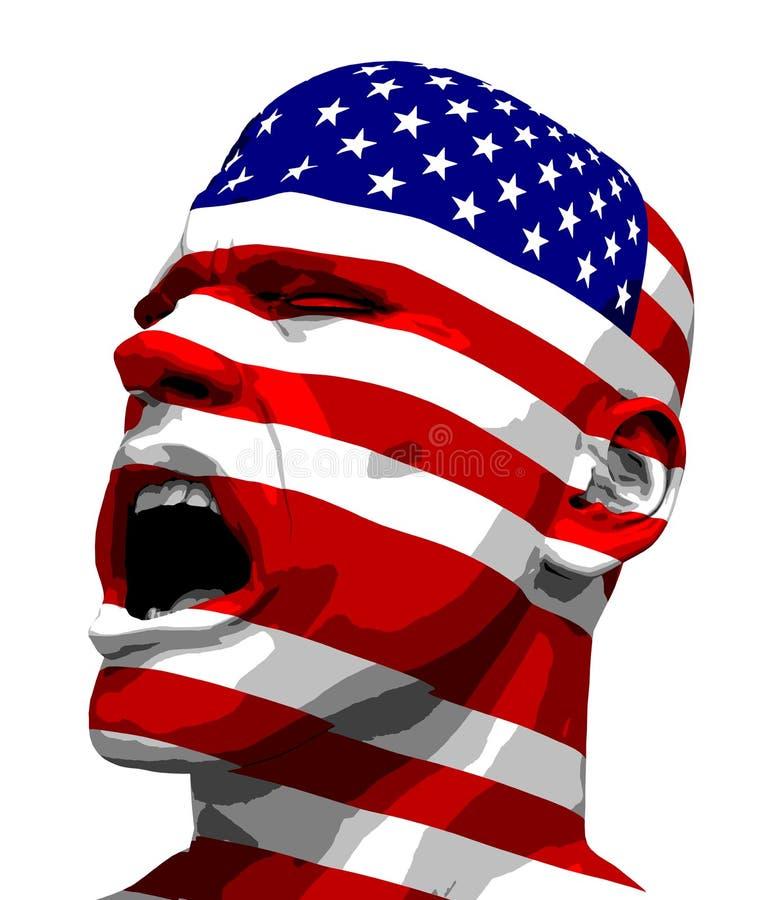 кричать США человека флага иллюстрация вектора