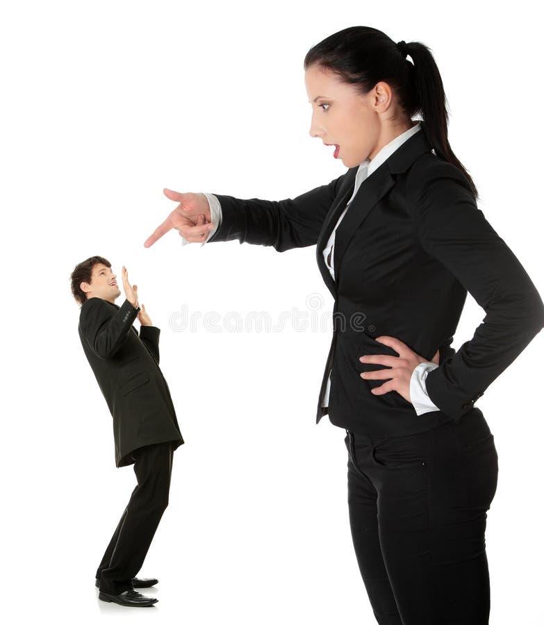 кричать человека коммерсантки стоковое фото rf