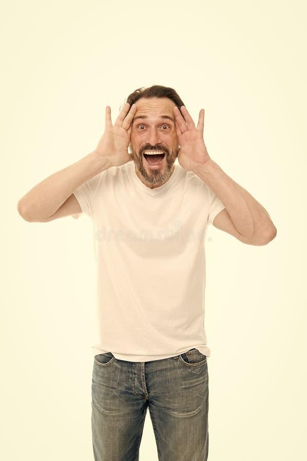 Кричащее человека возбужденное к вам Зрелый харизматический диктор возбужденный для того чтобы сообщить Общественная беседа Конце стоковое фото