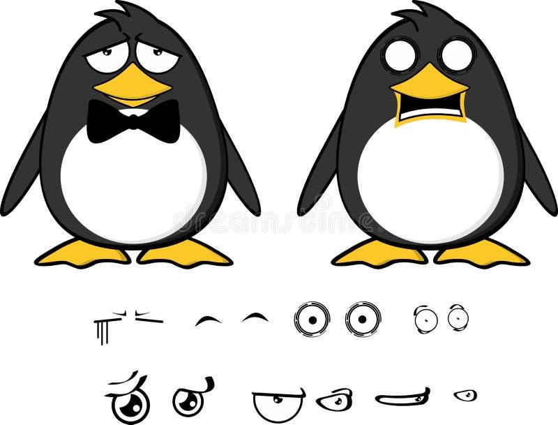 Кричащие выражения set2 шаржа младенца пингвина иллюстрация вектора