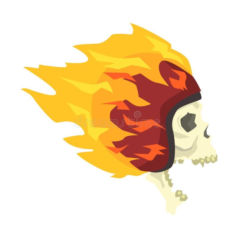 Кричащий череп в шлеме горя в пламенах, красочном стикере с войной и значке вектора атрибутов культуры велосипедиста иллюстрация вектора
