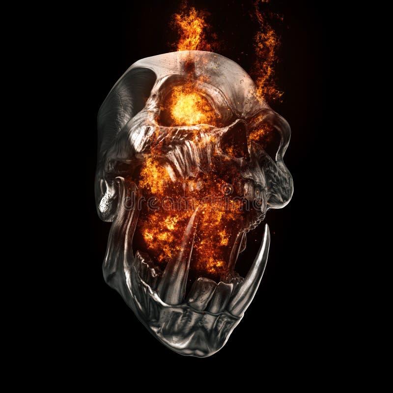Кричащий череп orc демона - глаза пылать и кричащий огонь бесплатная иллюстрация