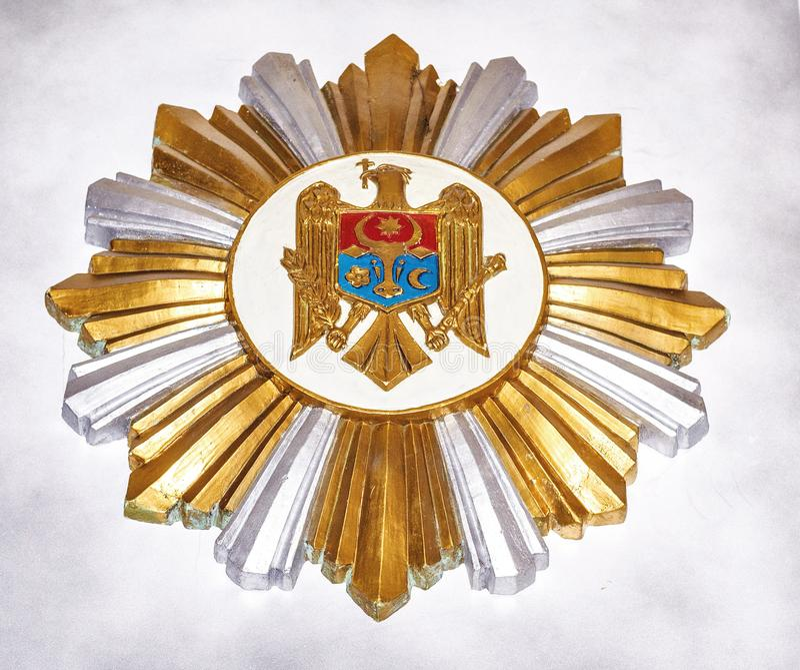Кроватка оружий Молдавии внутри погребов Cricova стоковые фотографии rf