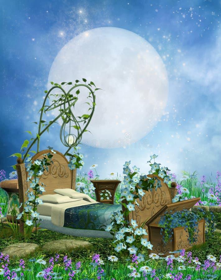 Кровать и луна фантазии бесплатная иллюстрация