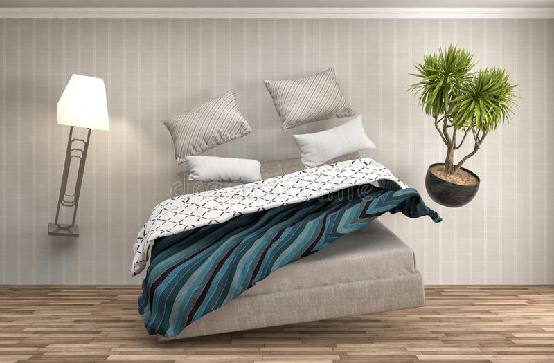 Кровать невесомости завиша в живущей комнате иллюстрация 3d иллюстрация штока