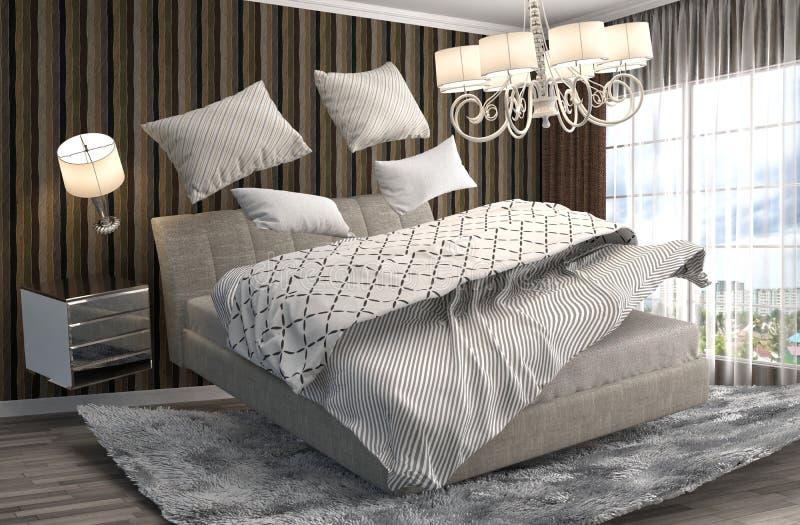 Кровать невесомости завиша в живущей комнате иллюстрация 3d иллюстрация вектора