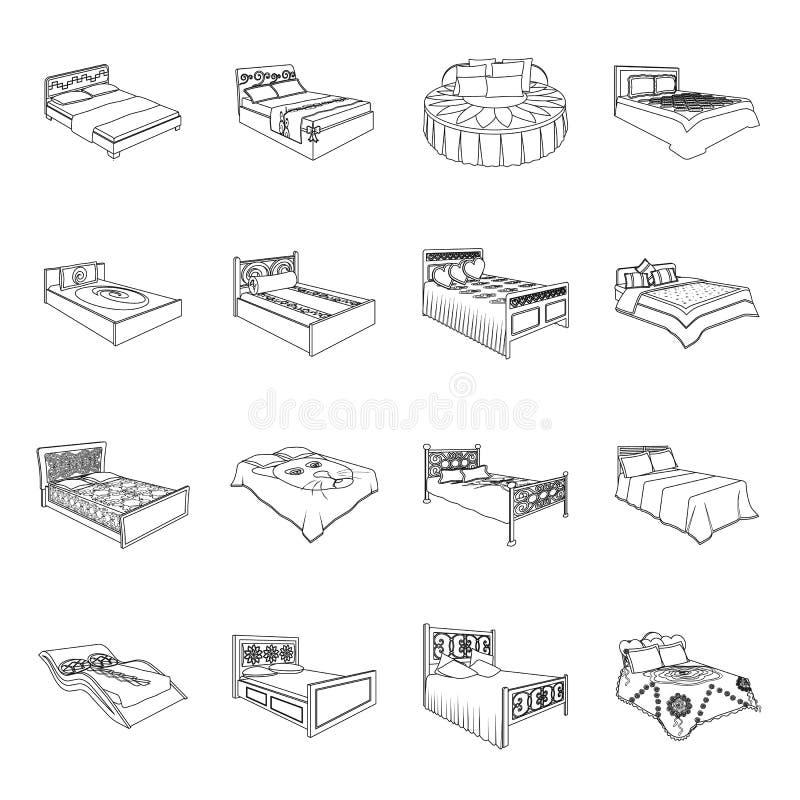 Кровать с задней частью, кругом, изогнула и другие виды товаров Кровати установили значки собрания в линии символе вектора стиля иллюстрация штока