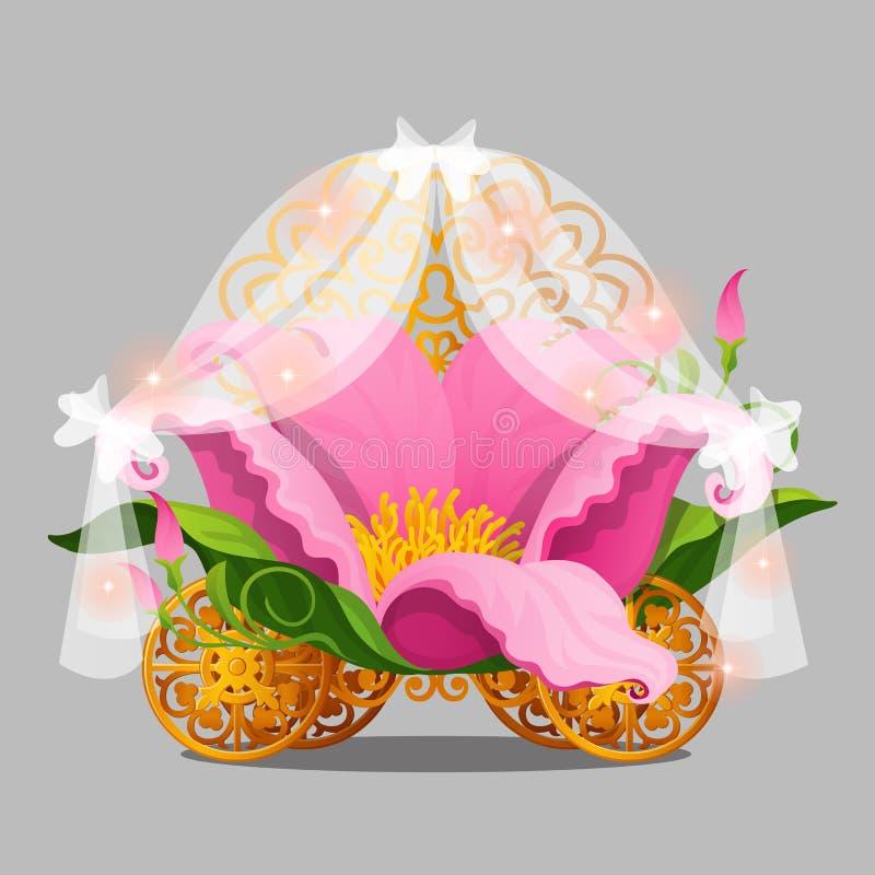 Кровать фантазии принцесса в лепестках розовых цветка с колесами золота фантастического экипажа изолированного на серой предпосыл иллюстрация штока