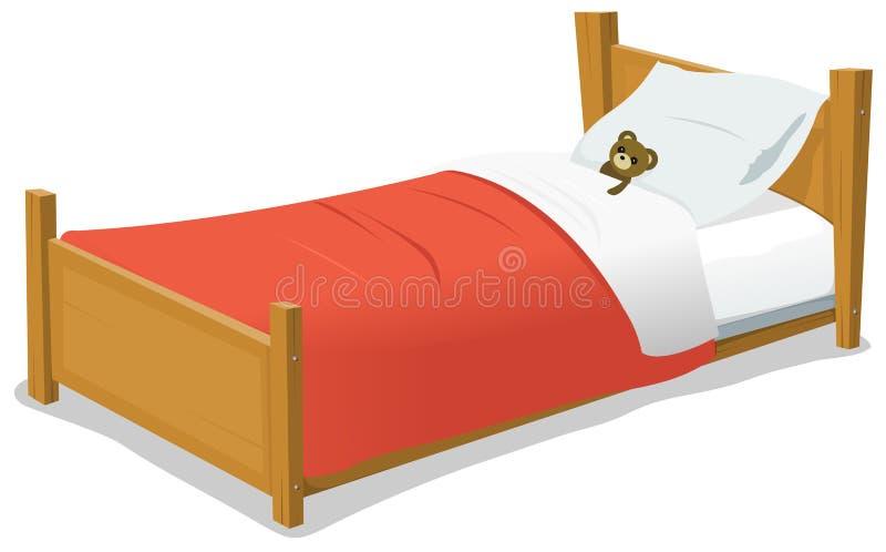 Кровать шаржа с плюшевым медвежонком бесплатная иллюстрация