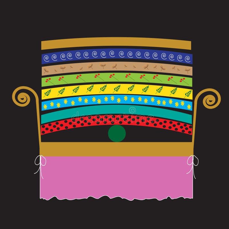 Кровать для принцессы, иллюстрация к принцессе сказки и горох иллюстрация штока