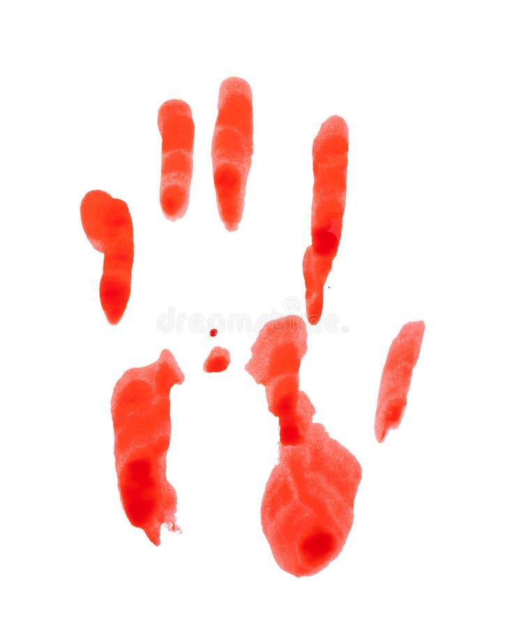 Кровопролитное handprint изолированное на белой предпосылке стоковые фотографии rf