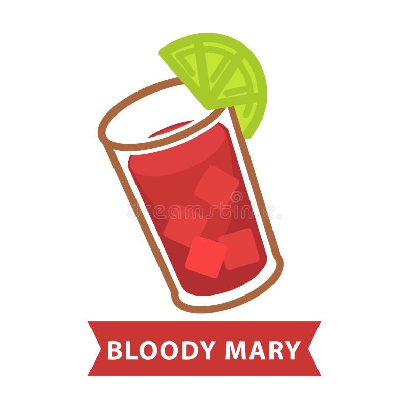 Кровопролитная Mary с льдом и куском известки в стекле иллюстрация штока
