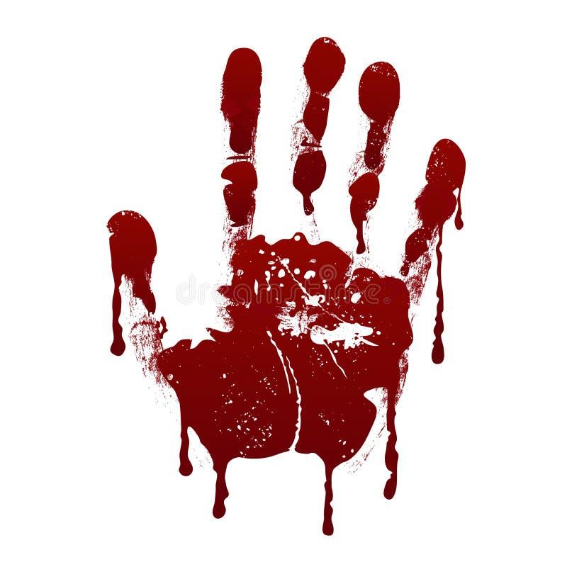 кровопролитное handprint Предпосылка вектора крови ужаса пакостная страшная иллюстрация вектора