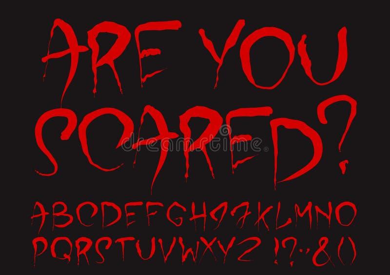 Кровопролитный комплект алфавита иллюстрация штока