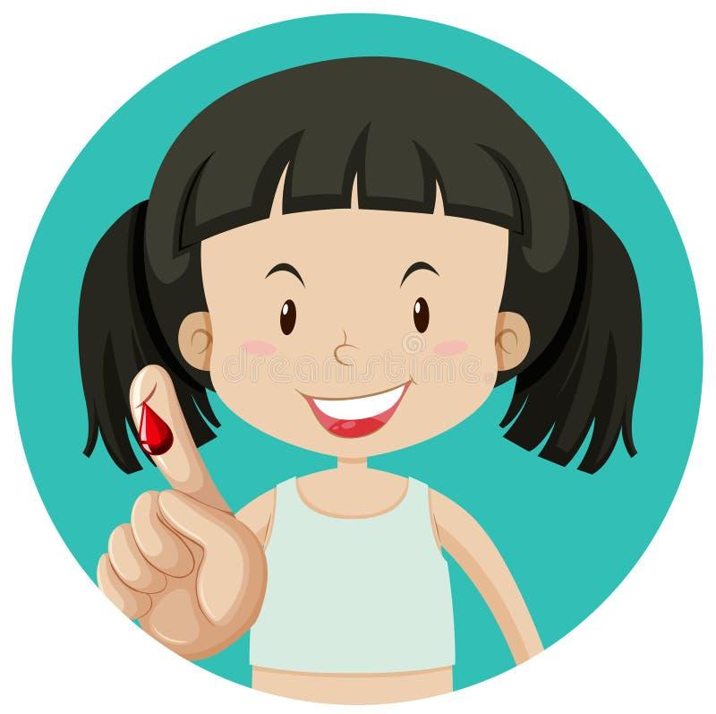 Кровотечение девушки на пальце иллюстрация вектора