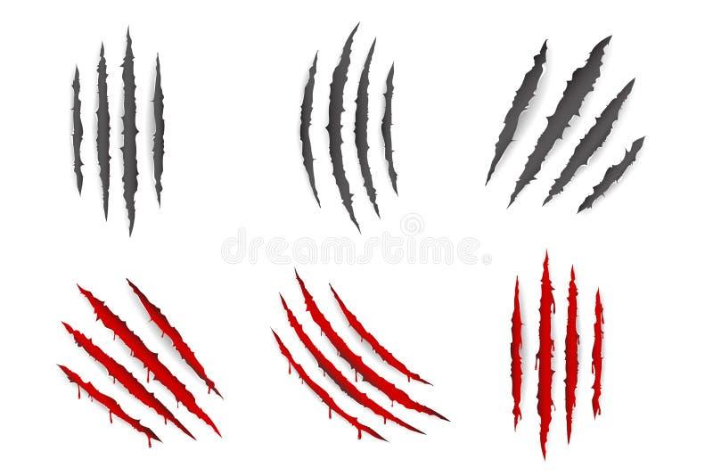 Кровотечение когтей чудовища животное царапает сорванную иллюстрацию вектора дизайна крови материала изолированную набором иллюстрация вектора