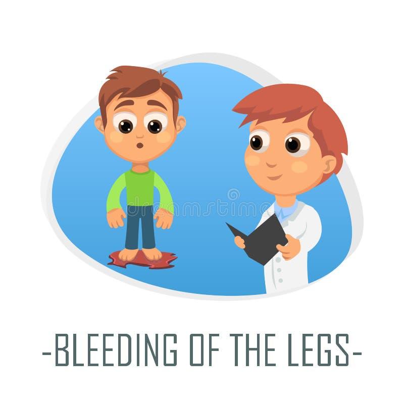 Кровотечение концепции ног медицинской также вектор иллюстрации притяжки corel иллюстрация вектора