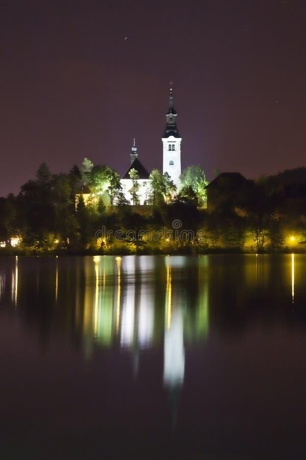 кровоточенная панорама Словения ночи озера стоковое фото rf
