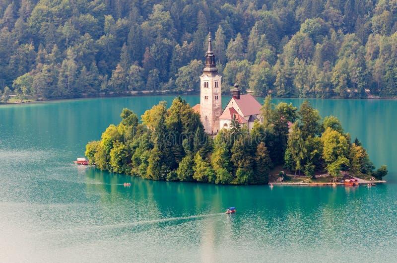 Кровоточенное озеро и остров, Словения стоковые изображения