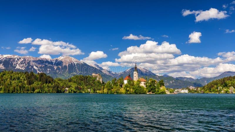 кровоточенное озеро Красивое озеро горы с малой церковью паломничества Большинств известные словенские озеро и остров кровоточили стоковое фото
