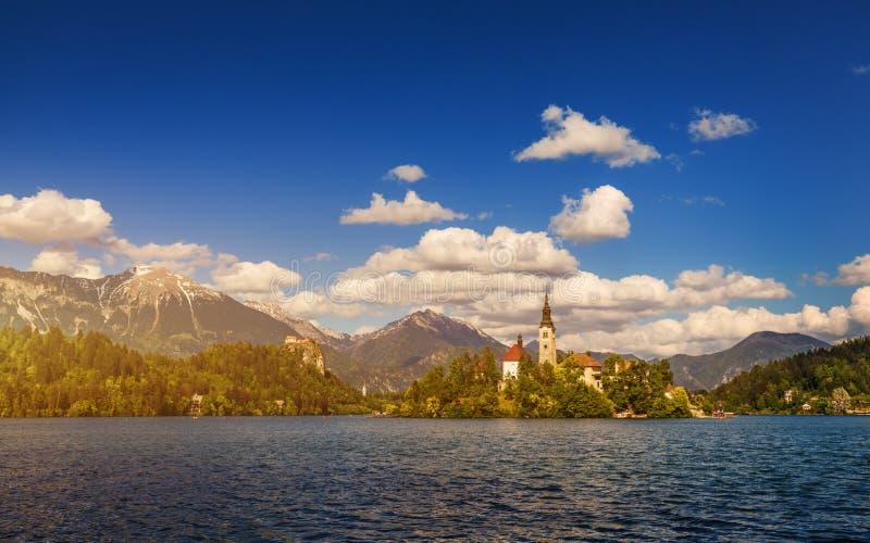 кровоточенное озеро Красивое озеро горы с малой церковью паломничества Большинств известные словенские озеро и остров кровоточили стоковые фотографии rf