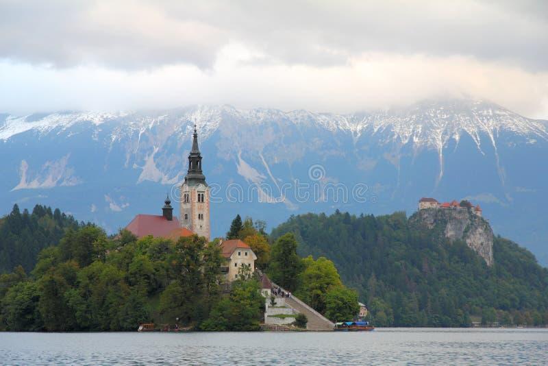 Кровоточенное озеро, Словения, Европа стоковые изображения