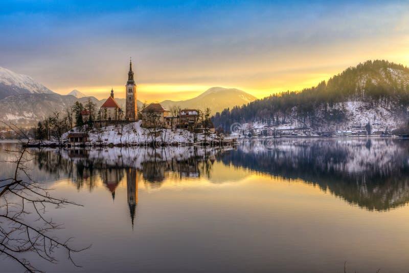 Кровоточенный с озером в зиме, Словения, Европа стоковая фотография
