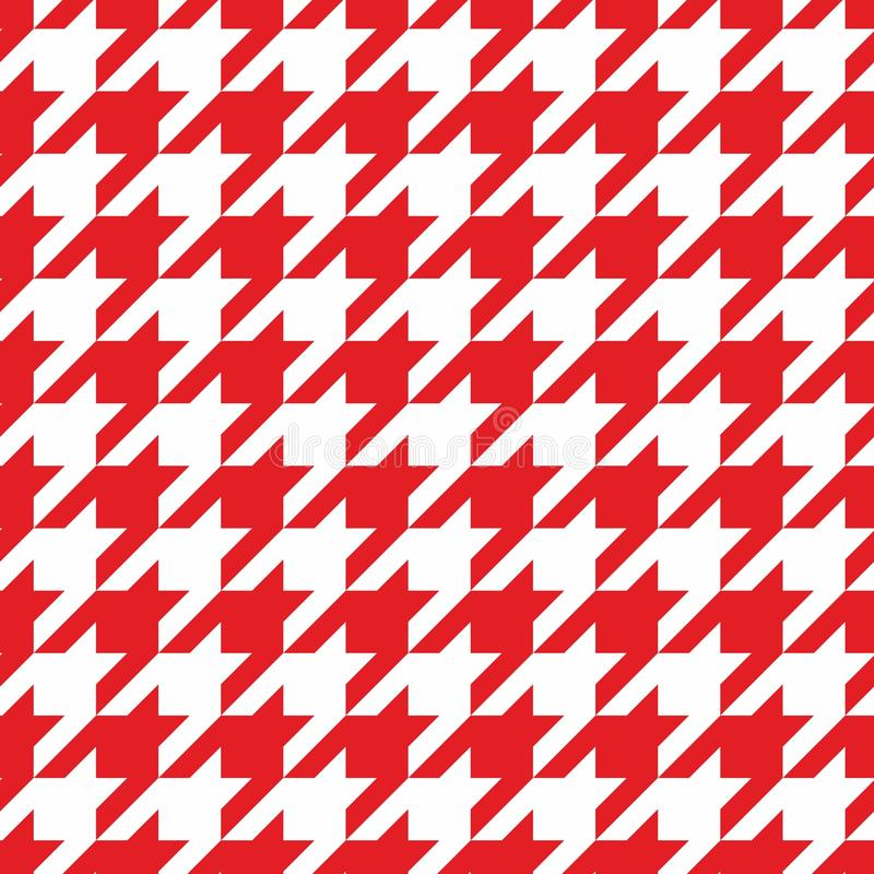 Кройте картину черепицей вектора с красной и белой предпосылкой houndstooth бесплатная иллюстрация