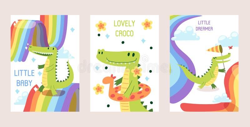 Крокодилы мультфильма смешные установили знамен, иллюстрации вектора карт Немногое фантазер младенца, прекрасное croco в раздувно бесплатная иллюстрация