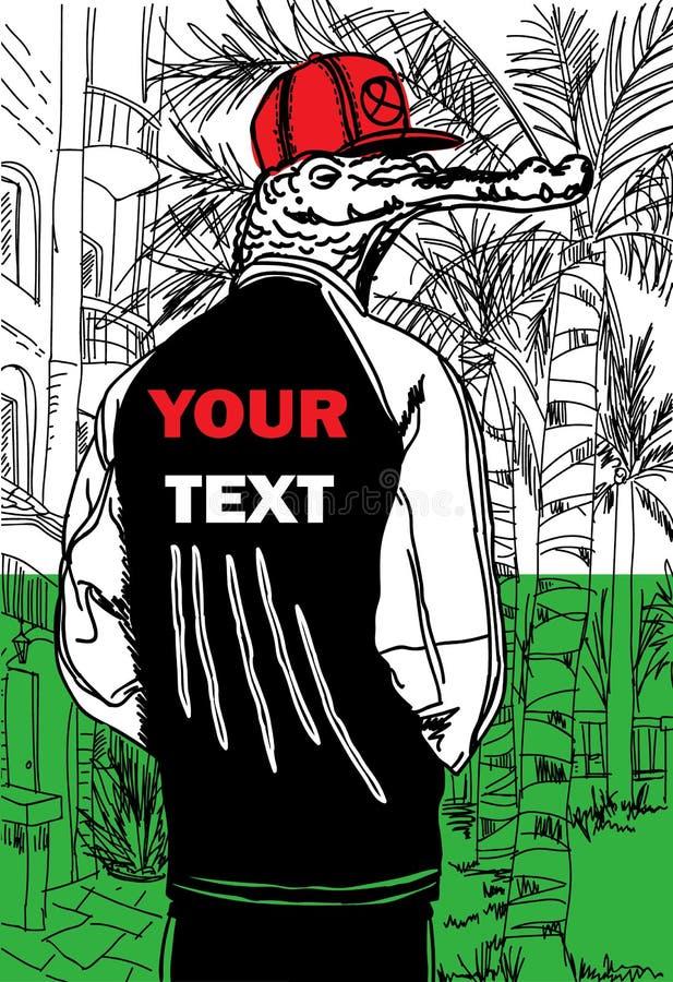 Крокодил в печати города стоковые изображения