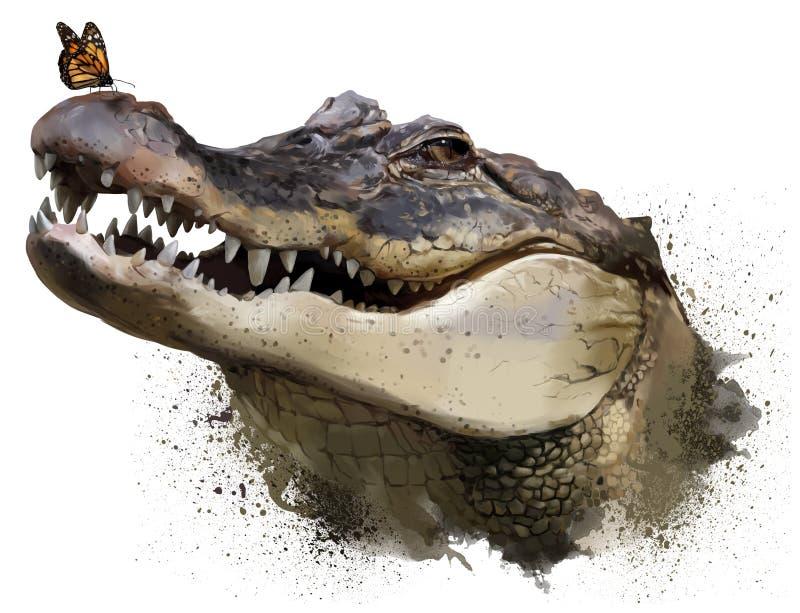 Крокодил и бабочка монарха самана коррекций высокая картины photoshop качества развертки акварель очень бесплатная иллюстрация