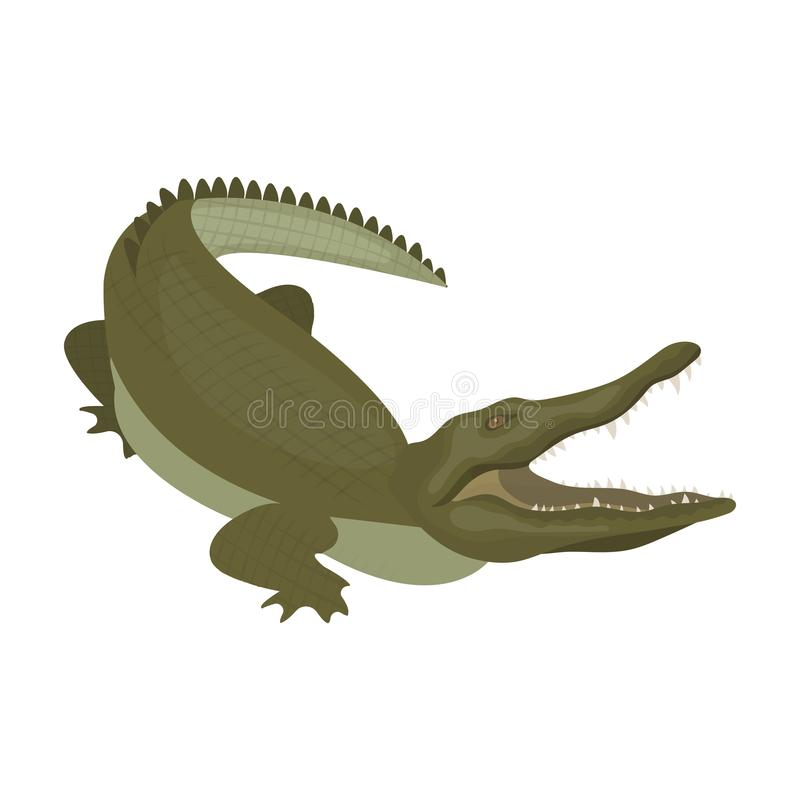 Крокодил, опасный хищник Гад, значок крокодила Нила одиночный в сети иллюстрации запаса символа вектора стиля шаржа иллюстрация штока