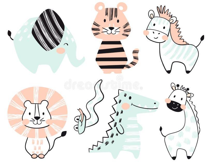 Крокодил, слон, тигр, зебра, лев, жираф, комплект печати младенца змейки милый иллюстрация вектора
